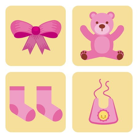 cute design elements for baby shower vector illustration Ilustração