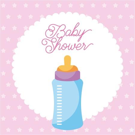 아기 병 카드 점 배경 벡터 일러스트와 베이비 샤워 초대장 스톡 콘텐츠 - 85212869