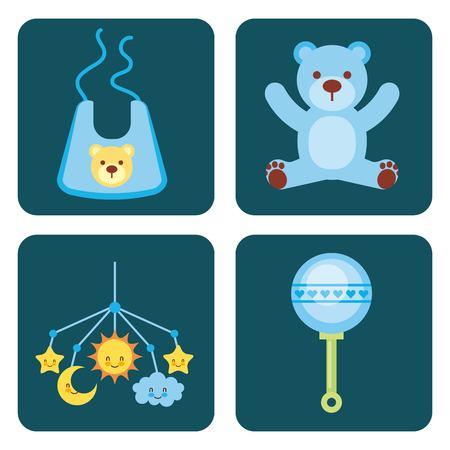 cute design elements for baby shower vector illustration Иллюстрация