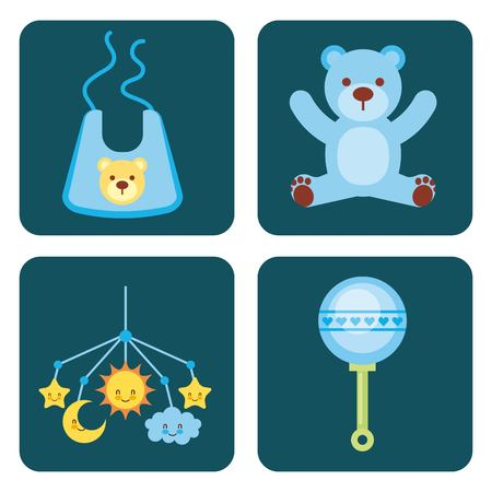 cute design elements for baby shower vector illustration Illustration