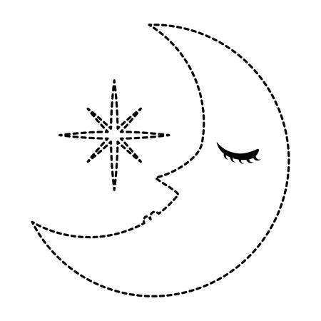 sleeping moon kawaii character vector illustration design Illustration
