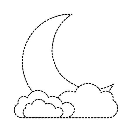 sleeping moon kawaii character vector illustration design 向量圖像