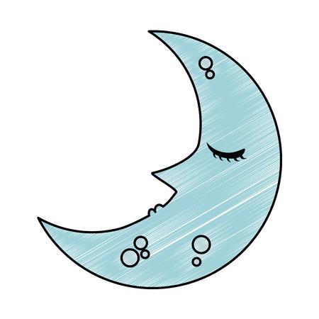dormir lune kawaii character vector illustration design Vecteurs