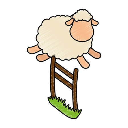 cute sheep jumping the fence vector illustration design Illustration