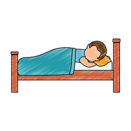 man sleeping on the bed vector illustration design Ilustrace