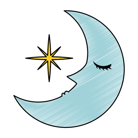 sleeping moon kawaii character vector illustration design Ilustração