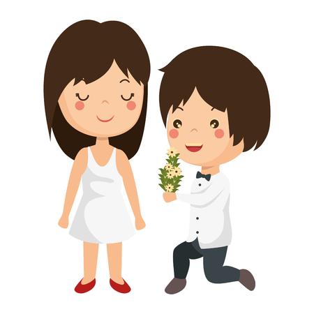 かわいいカップルがちょうど花花束ベクトル イラスト デザインと結婚してください。 写真素材 - 85242277
