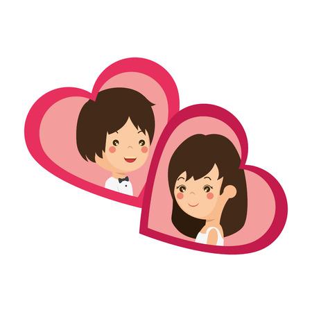 かわいいカップルがちょうど心臓ベクトル イラスト デザインと結婚してください。 写真素材 - 85242279