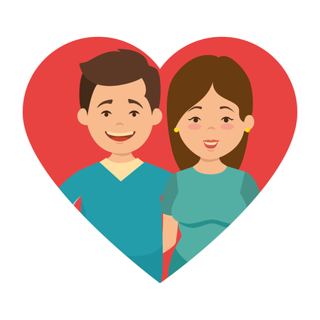 cute couple in love with heart vector illustration design