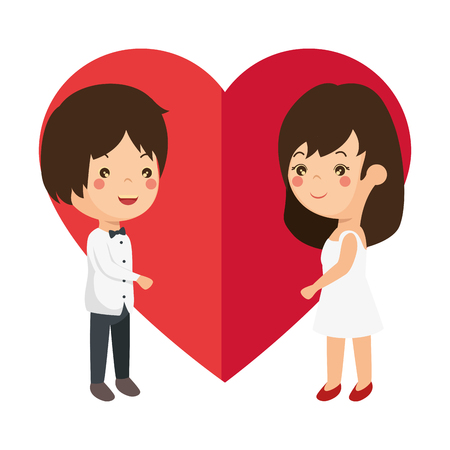 cute couple in love with heart vector illustration design Фото со стока - 85243836