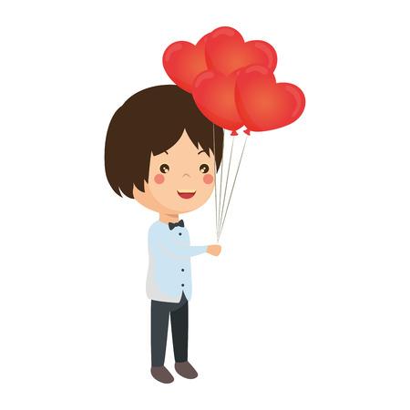 cute husband with balloons air vector illustration design Ilustração