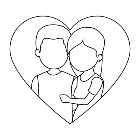 cute couple in love with heart vector illustration design Stock fotó - 85242508
