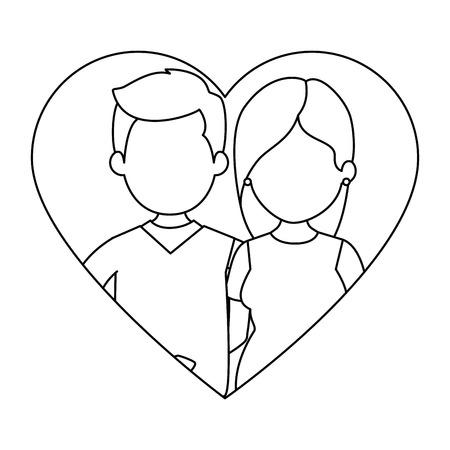 かわいいカップルの心と愛のベクトル イラスト デザイン  イラスト・ベクター素材