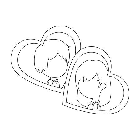 Linda pareja acaba de casarse con diseño de ilustración vectorial del corazón Foto de archivo - 85242512