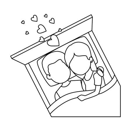 Cute pareja en el amor en la cama ilustración vectorial diseño Foto de archivo - 85242515