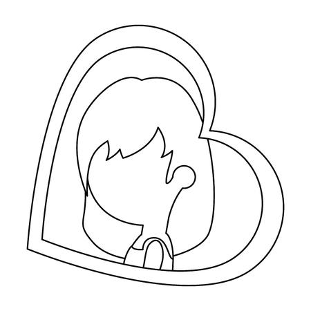 schattige vrouw met hart vector illustratie ontwerp Stock Illustratie