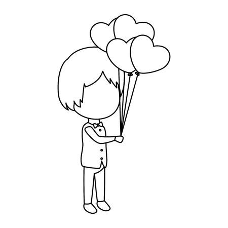 cute husband with balloons air vector illustration design Illustration