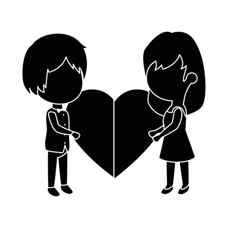 cute couple in love with heart vector illustration design Stock fotó - 85243871