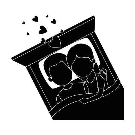 Cute pareja en el amor en la cama ilustración vectorial diseño Foto de archivo - 85243873