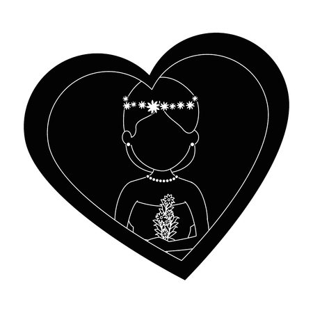 Moglie carina con disegno illustrazione vettoriale cuore Archivio Fotografico - 85243876