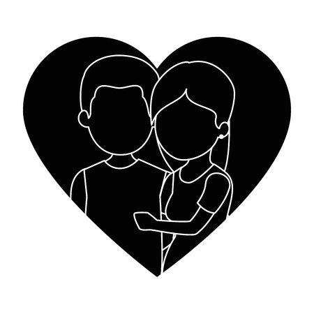 cute couple in love with heart vector illustration design Stock fotó - 85243884