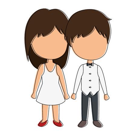 かわいいカップル ジャストマリッジ ベクトル イラスト デザイン 写真素材 - 85243895