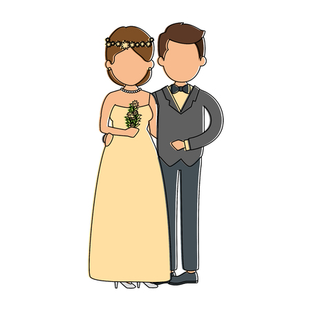 cute couple just married with flowers bouquet vector illustration design