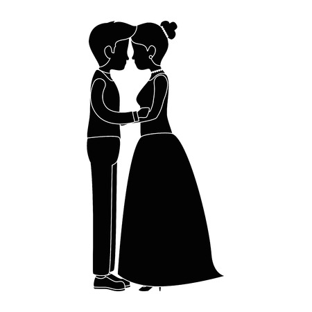 cute couple just married kissing vector illustration design Ilustração