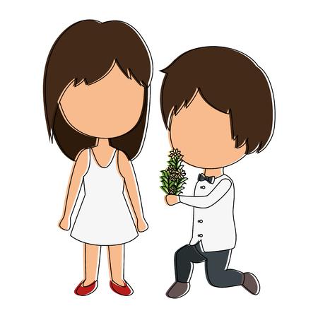 かわいいカップルがちょうど花花束ベクトル イラスト デザインと結婚してください。 写真素材 - 85243999