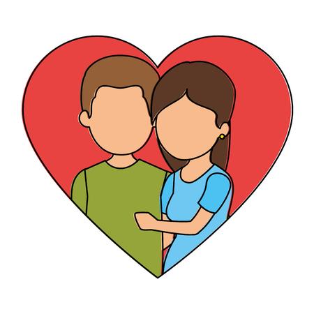 かわいいカップルがちょうど心臓ベクトル イラスト デザインと結婚してください。 写真素材 - 85244003