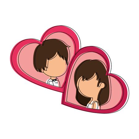 かわいいカップルがちょうど心臓ベクトル イラスト デザインと結婚してください。