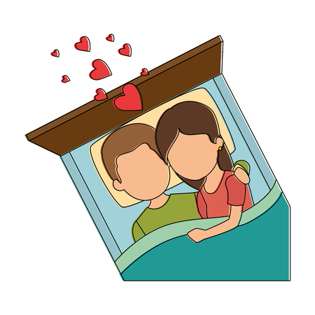cute couple in love in the bed vector illustration design Illustration