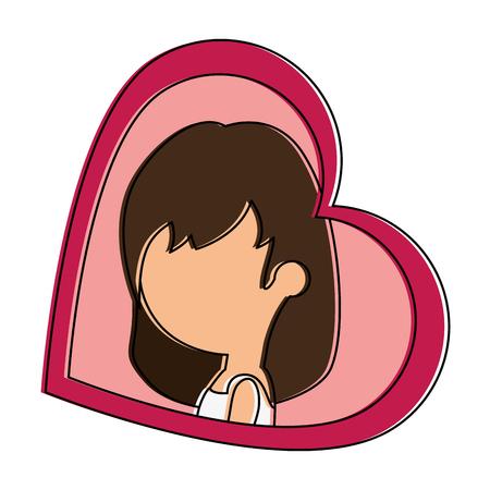 Schattige vrouw met hart vector illustratie ontwerp Stockfoto - 85244011