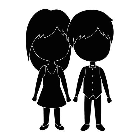 かわいいカップル ジャストマリッジ ベクトル イラスト デザイン