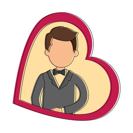 schattige man met hart vector illustratie ontwerp
