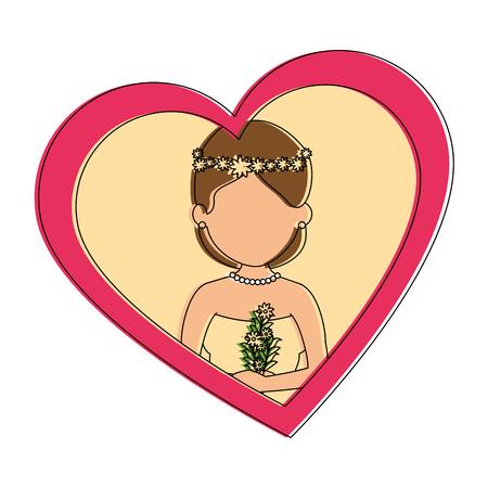 leuke vrouw met ontwerp van de hart het vectorillustratie