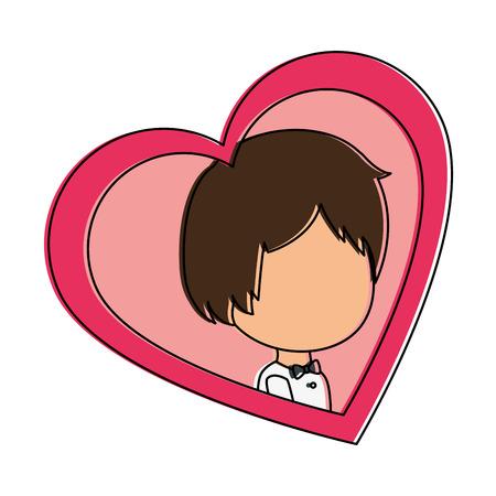 cute husband with heart vector illustration design Illustration