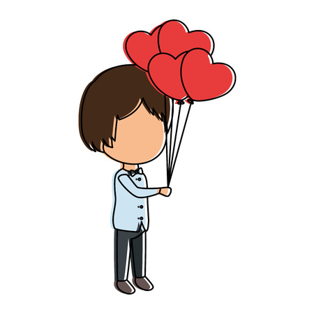 cute husband with balloons air vector illustration design Illustration
