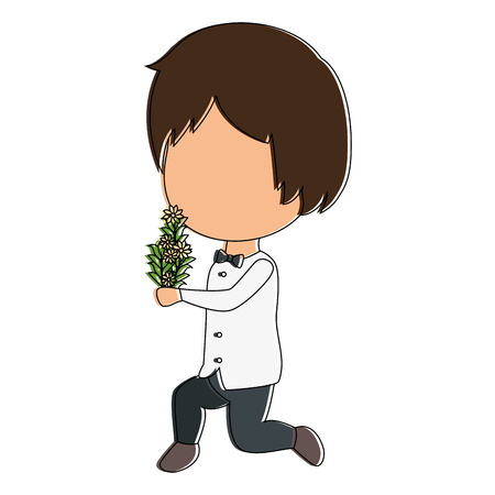 cute husband with flowers avatar character vector illustration design Illustration