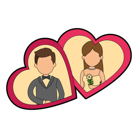 seduce: cute couple just married with heart vector illustration design