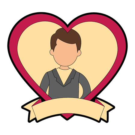 cute husband with heart vector illustration design Stock fotó - 85242645