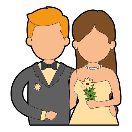 かわいいカップルがちょうど花花束ベクトル イラスト デザインと結婚してください。  イラスト・ベクター素材