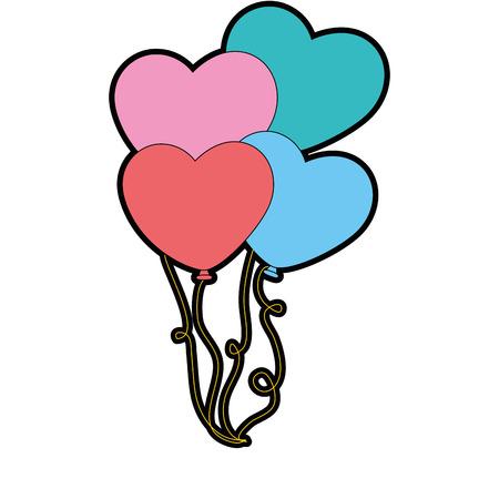 romantic date: heart shaped balloons icon vector illustration design