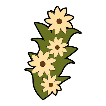 beautiful flowers decorative icon vector illustration design