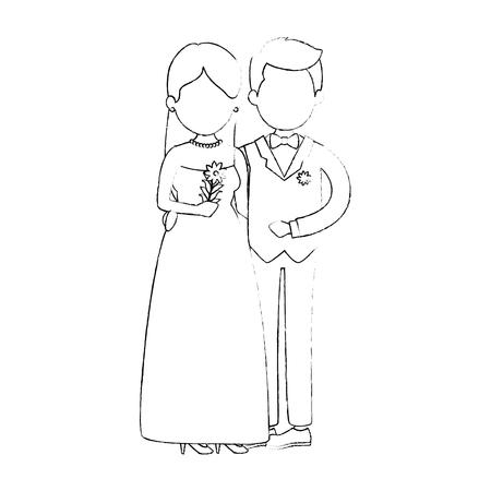 schattig paar net getrouwd met bloemen boeket vector illustratie ontwerp Stock Illustratie