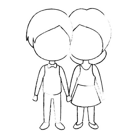 cute couple in love vector illustration design