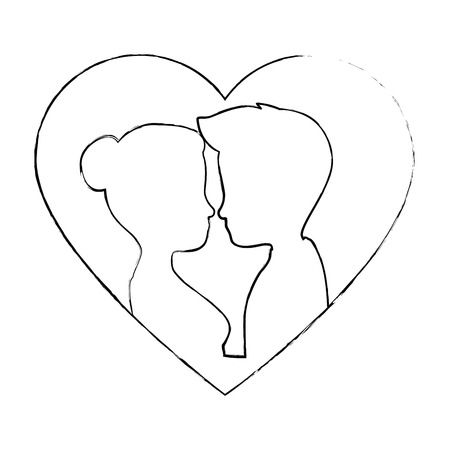 cute couple in love silhouette kissing vector illustration design