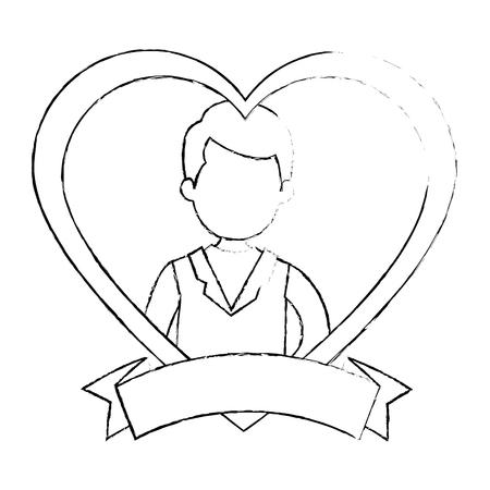 Marito carino con illustrazione vettoriale cuore illustrazione Archivio Fotografico - 85246284