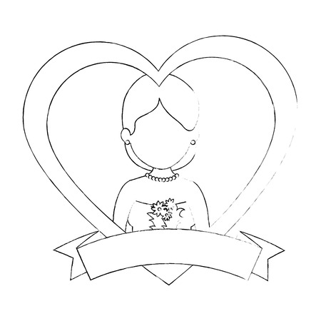 cute wife with heart vector illustration design