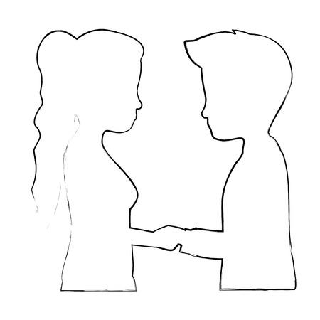 cute couple in love silhouette kissing vector illustration design
